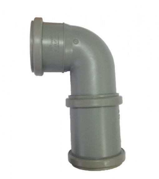 уголок 90 с муфтой серого цвета, диаметр 75 мм